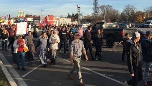 A 'Freedom March' is held in Aylmer, Ont. on Nov. 7, 2020. (Brent Lale/CTV London)