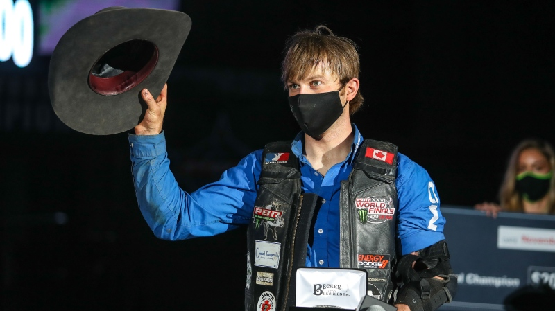 Dakota Buttar wins the 2020 PBR Canada championship on Nov. 7 in Grande Prairie, Alta. Courtesy Covy Moore/CovyMoore.com
