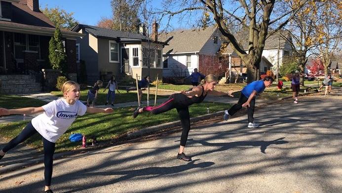 Christie Street outdoor fitness class in London Ont, on Nov. 8, 2020. (Jordyn Read/CTV London)