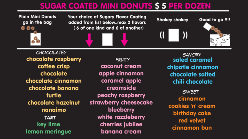 Donut Diva's mini donut flavours (Source: Dee Spencer)