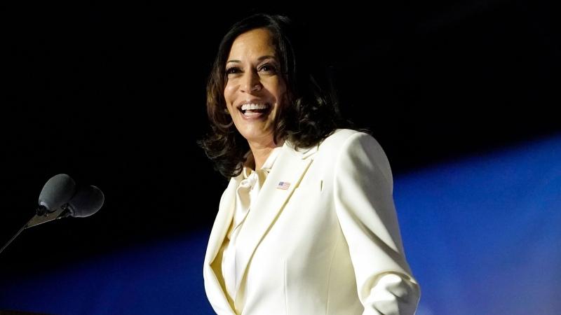 Vice President-elect Kamala Harris speaks Saturday, Nov. 7, 2020, in Wilmington, Del. (AP Photo/Andrew Harnik)