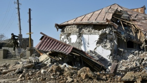 Armenia says that fighting was continuing for the key town of Shusha in Nagorno-Karabakh. (AFP)