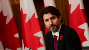 Prime Minister Justin Trudeau speaks during a press conference in Ottawa on Monday, Nov. 9, 2020. THE CANADIAN PRESS/Sean Kilpatrick