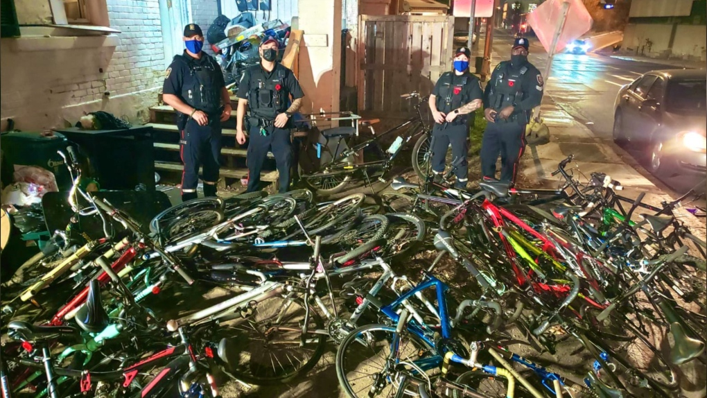 Ottawa police pose with stolen bikes in Centretown