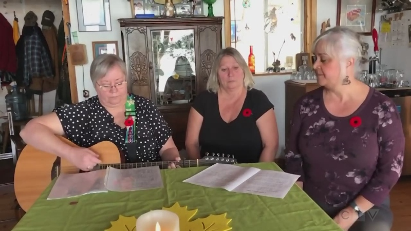 "Women in Song trio from Blind River Patty Dunlop, Lois Jones and Debbie Rivard sing ""A Song About War"""