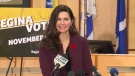 Sandra Masters speaks to reporters after being elected mayor of Regina.