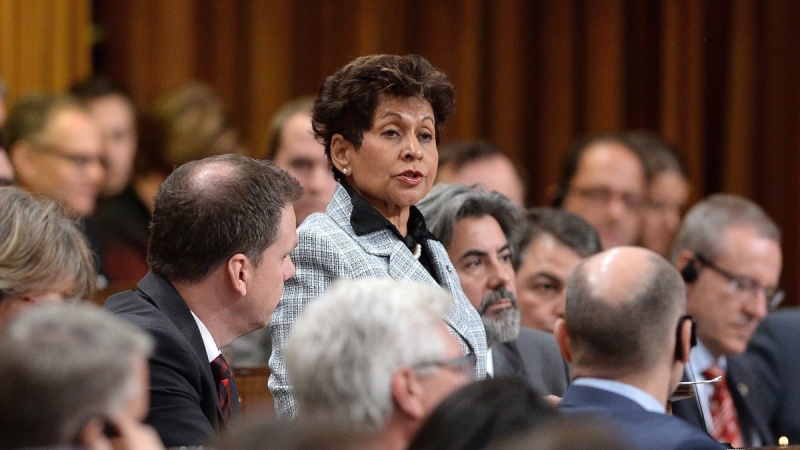 Yasmin Ratansi, centre, delivers a speech in the House of Commons on Parliament Hill in Ottawa on Dec. 3, 2015. (Sean Kilpatrick / THE CANADIAN PRESS)