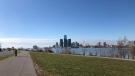 A riverfront trail along the Detroit River in Windsor, Ont., on Sunday, Nov. 8, 2020. (Melanie Borrelli / CTV Windsor)