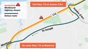 A stretch of Highway 174 westbound will close Nov. 20-23 for LRT construction. (City of Ottawa)