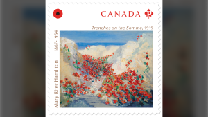 The new Canada Post stamp featuring an oil painting by Mary Riter Hamilton is seen here.