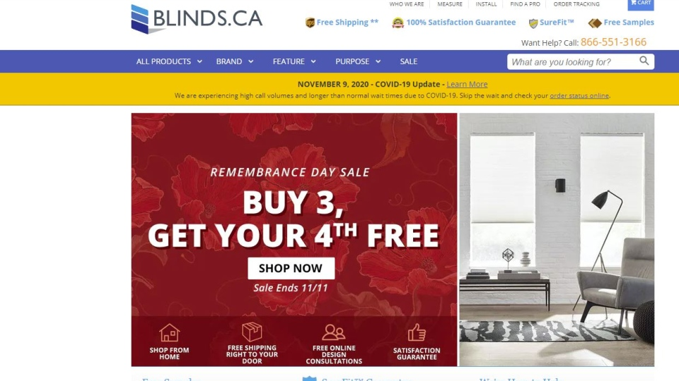 A screenshot of blinds.ca's Remembrance Day sale