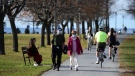 People make their way along the Ottawa River shoreline as temperatures hit 23 C in Ottawa on Tuesday, Nov. 10, 2020. (Sean Kilpatrick/THE CANADIAN PRESS)