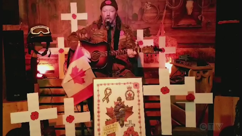 Claude Lecuyer, from Sturgeon Falls, decorated his stage area and did his rendition of Pete Seeger's 'Where Have All the Flowers Gone.'
