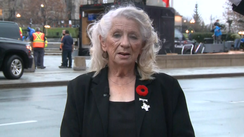 Debbie Sullivan, the Royal Canadian Legion's National Silver Cross Mother for 2020, speaks at the National War Memorial in Ottawa, Nov. 11, 2020. (CTV Morning Live)
