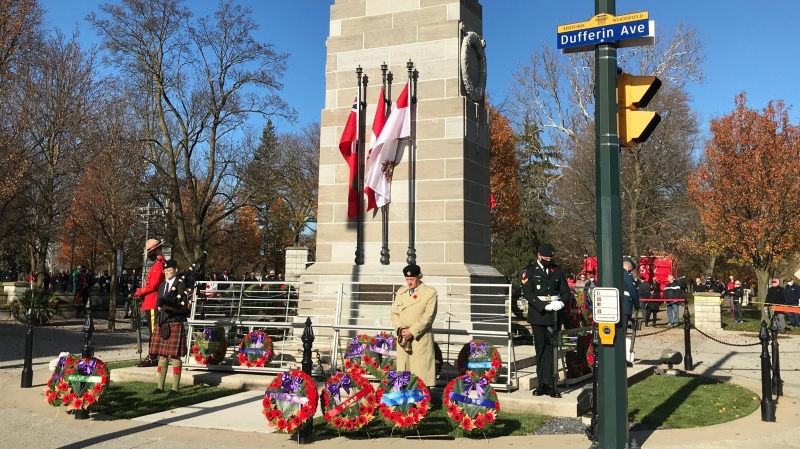 Sentries stand guard at the Victoria Park Cenotaph in London, Ont. on Wednesday, Nov. 11, 2020. (Sean Irvine / CTV News)