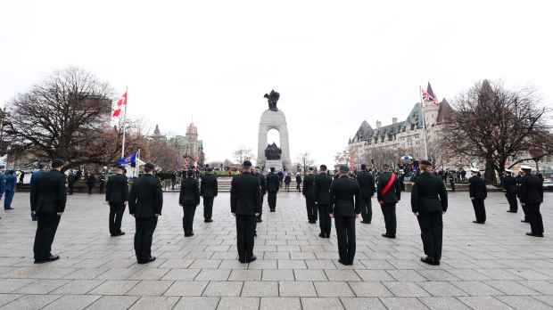 A Canadian Armed Forces guard takes part in the Remembrance Day ceremony at the National War Memorial in Ottawa on Wednesday, Nov. 11, 2020. THE CANADIAN PRESS/Sean Kilpatrick