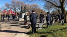 A Remembrance Day ceremony at the Stratford Cenotaph. (Heather Senoran / CTV News Kitchener)