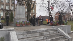 Sault Ste. Marie's Remembrance Day ceremony was scaled back, but that didn't stop many from turning out to pay their respects.