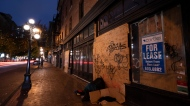 A vacant commercial location is pictured for lease in downtown Vancouver Tuesday, October 27, 2020. THE CANADIAN PRESS/Jonathan Hayward
