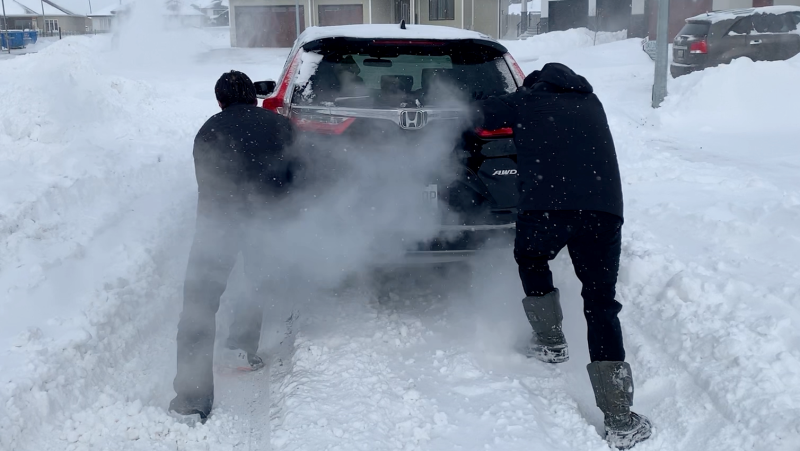 Saskatoon residents continue to get stuck in snow following two major snowstorms. Laura Woodward/CTV Saskatoon