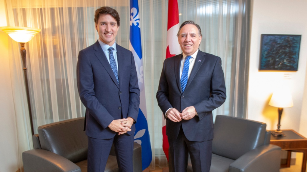 Trudeau and Legault before the pandemic