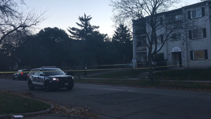 Police at the scene of a reported shooting in Kitchener on Nov. 12, 2020. (Tegan Versolatto / CTV Kitchener)