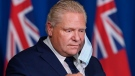 Ontario Premier Doug Ford arrives at a press conference at Queen's Park during the COVID-19 pandemic in Toronto on Tuesday, November 3, 2020. THE CANADIAN PRESS/Nathan Denette