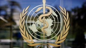 World Health Organization logo is seen at the WHO headquarters in Geneva, Switzerland, on June 11, 2009. (Anja Niedringhaus / AP)