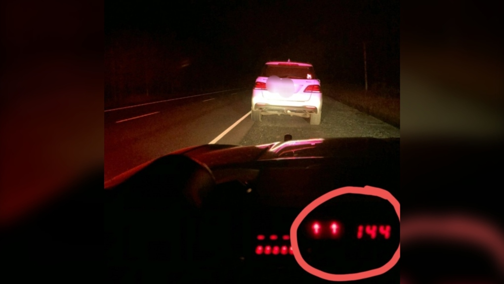 Driver pulled over on Hwy 17 for going 144 km/h