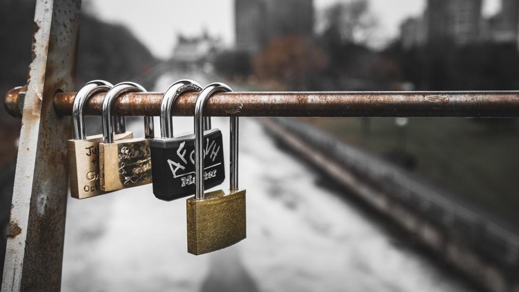Love locks on Corktown Bridge, Ottawa