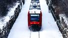 The O-Train travels on snow covered tracks along the Trillium Line in Ottawa. (Photo by Sebastien Artaud of Unsplash)