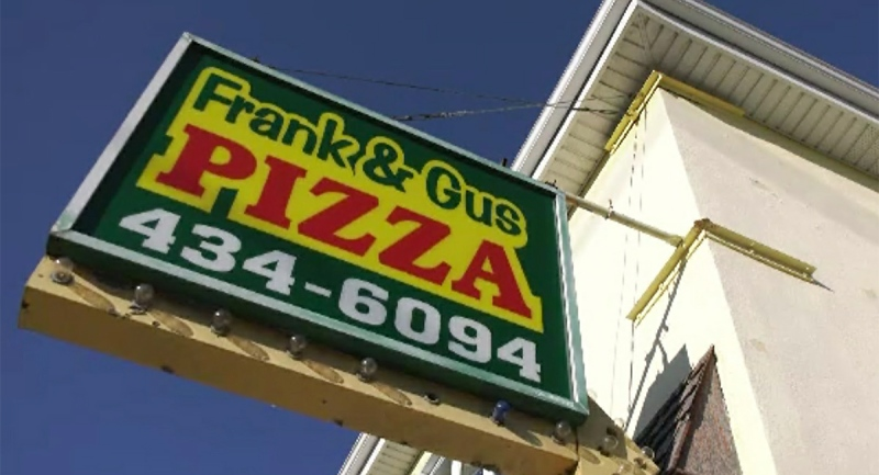 The sign for Frank and Gus Pizza in London, Ont. is seen Thursday, Nov. 12, 2020. (Marek Sutherland / CTV News)