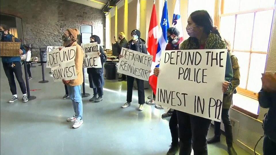 Montreal defund the police protest
