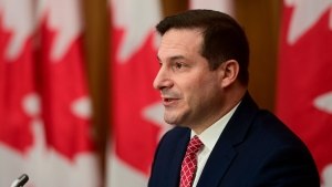 Minister of Immigration, Refugees and Citizenship Marco Mendicino holds a press conference in Ottawa on Thursday, Nov. 12, 2020. THE CANADIAN PRESS/Sean Kilpatrick