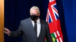 Ontario Premier Doug Ford arrives for a news conference at Queen's Park during the COVID-19 pandemic in Toronto on Monday, September 28, 2020. THE CANADIAN PRESS/Nathan Denette