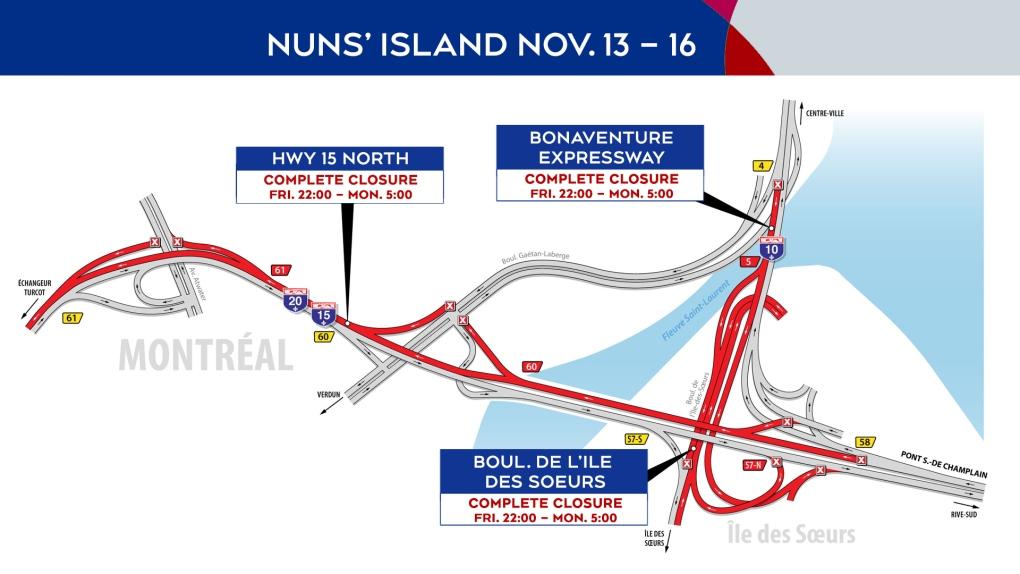 Nuns' Island closures Nov. 13-16