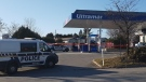 Gatineau police on the scene of a suspicious death at a gas station on La Vérendrye Boulevard West, Nov. 14, 2020. (Mike Mersereau / CTV News Ottawa)
