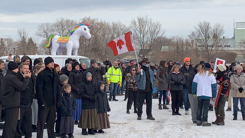 An anti-mask rally in Steinbach drew a large crowd on November 14, 2020. (Source: CTV News/Danton Unger)