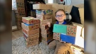 "Jake Rooney of Pembroke has started selling ""Jake's Crates"", a subscription box with toys, books, crafts and other items for kids. (Dylan Dyson/CTV News Ottawa)"