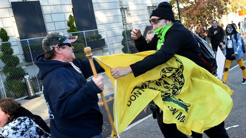 Donald Trump supporters and counterdemonstrators clashed on Nov. 14 in the streets of Washington, D.C., leading to violence and arrests.