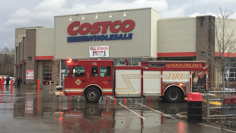 London Fire Department seen at Costco Warehouse on Wonderland Road N, for reports of smoke on Sunday November 15, 2020 (Brent Lale)
