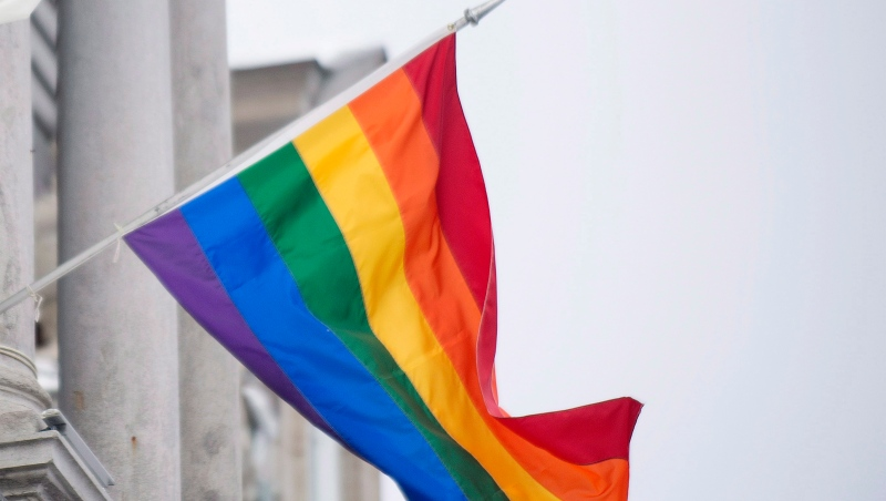The rainbow flag flies over city hall in Montreal, Friday, February 7, 2014, (Photo: THE CANADIAN PRESS/Graham Hughes)