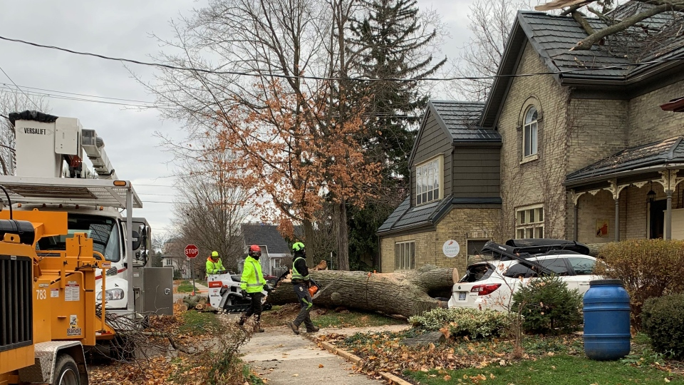 Crews clean up damage on Mary Street