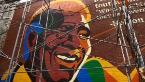 A new mural commemorates Nelson Mandela's visit to Montreal, 30 years ago.