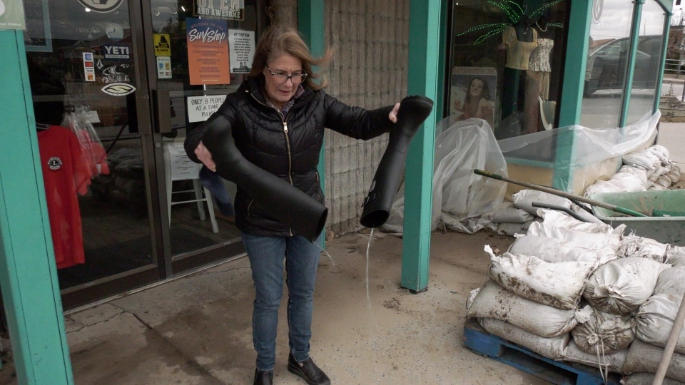 Wendy Knechtel Port Dover business owner asses the damage following Sunday's storm. (Marek Sutherland / CTV London)