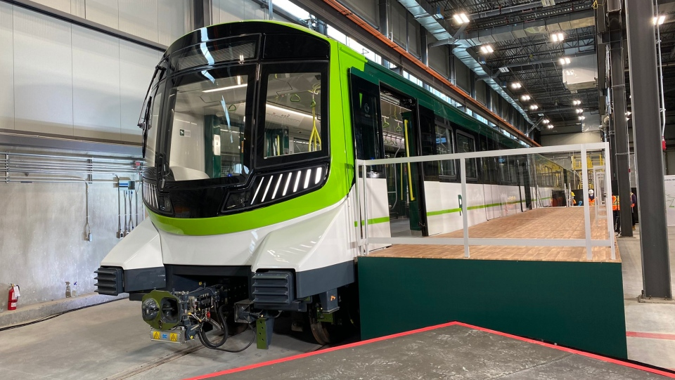 The new REM cars were unveiled in Brossard on Monday.