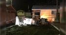 A car slammed into a cottage in Port Stanley, Ont. on Wednesday, Nov. 4, 2020. (Source: Kara Deshaw)