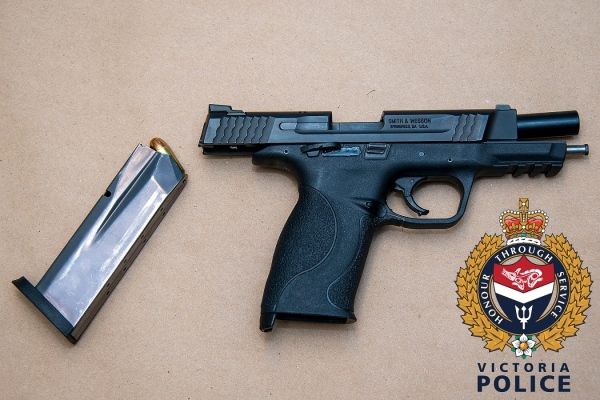 the seized handgun is shown: (VicPD)