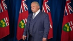 Ontario Premier Doug Ford attends a briefing, as the Provincial Government announce a series of measures to combat the spread of COVID-19, In Toronto, Friday, Nov, 13, 2020. THE CANADIAN PRESS/Chris Young