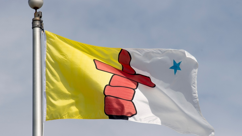 Nunavut's provincial flag flies on a flag pole in Ottawa, Tuesday June 30, 2020. THE CANADIAN PRESS/Adrian Wyld